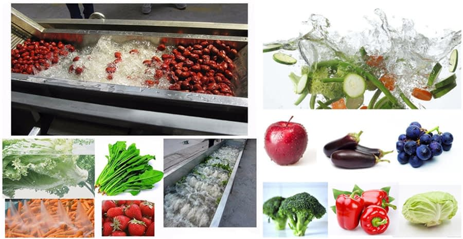 The application of fruit and vegetable bubble washing machine